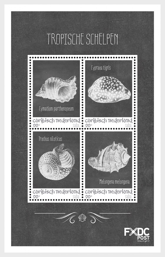 Shells Black/White - (Saba) - Miniature Sheet