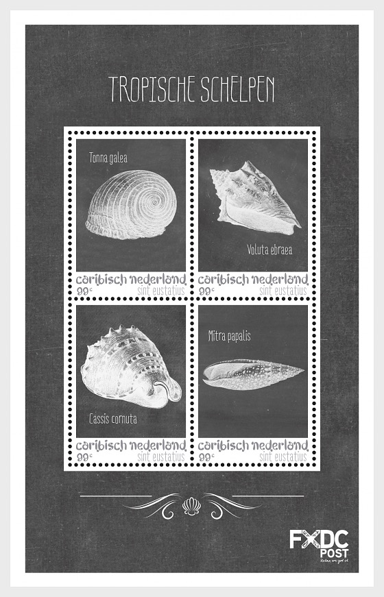 Shells Black/White - (St. Eustatius) - Miniature Sheet