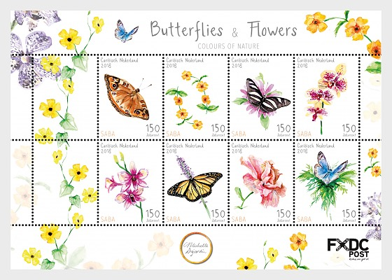 Butterflies & Flowers (Saba) - Miniature Sheet