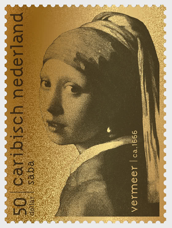 Saba - Gold Stamp - Girl with Pearl Earring by Vermeer - Collectibles