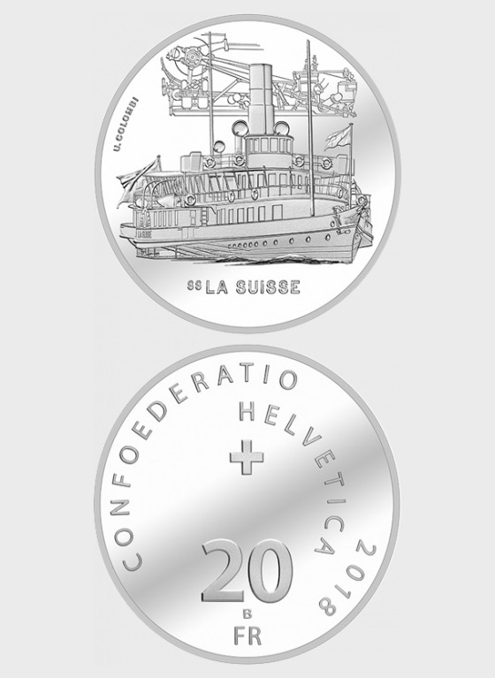Steamboat La Suisse, AG uncirculated - Silver Coin