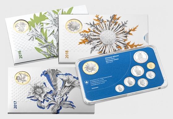 FLORA ALPINA coin set series, proof - Commemorative