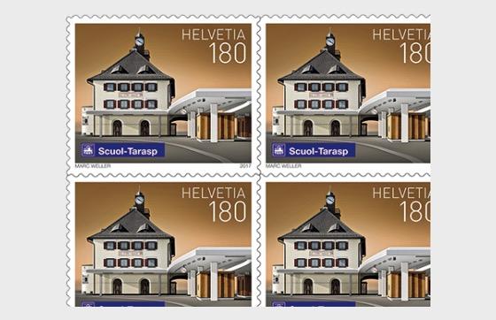 Swiss Railway Stations - (Scuol-Tarasp Sheetlet Mint) - Sheetlets