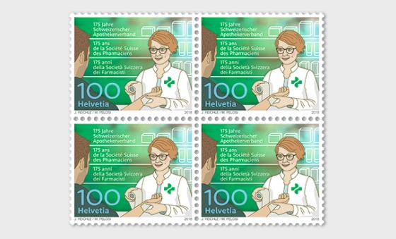 175 Years Swiss Pharmacists' Association - (Block of 4 Mint) - Block of 4