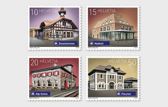 2018 Swiss Railway Stations - (Set Mint) - Set