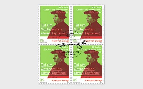Huldrych Zwingli − 500 Ans de la Réforme à Zurich et en Haute-Allemagne - Bloc de 4 CTO