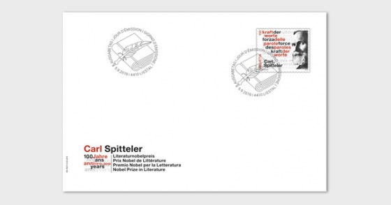 Carl Spitteler 100 Years Nobel Prize in Literature 1919–2019 - FDC Stamp - First Day Cover