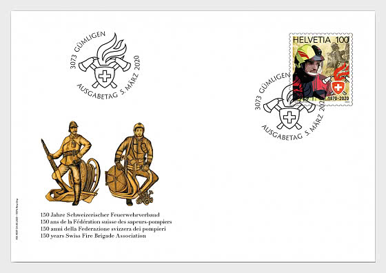 150 Years Swiss Fire Brigade Association - First Day Cover