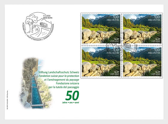 50 years of the Swiss Foundation for Landscape Conservation - FDC Block of 4 - First Day Cover block of 4