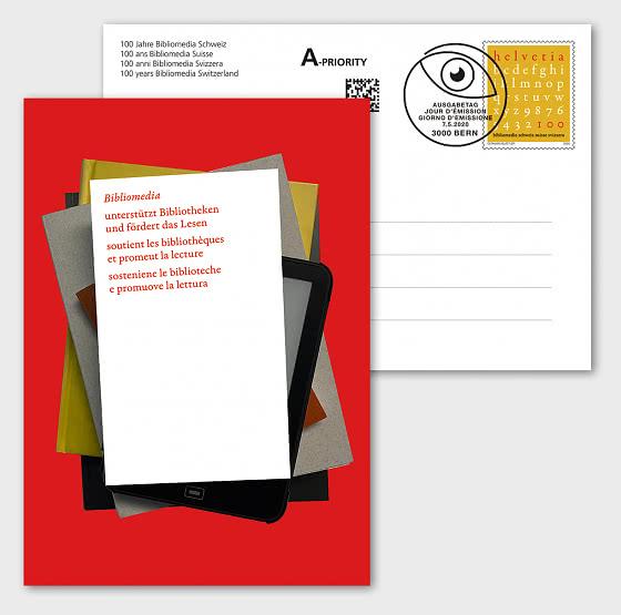 100 Years Bibliomedia Switzerland - Postcard CTO - Post Card CTO