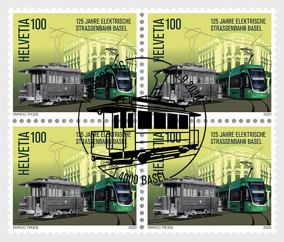125 Years Basel Electric Tram - Block of 4 CTO - Block of 4 CTO