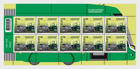 125 Years Basel Electric Tram - Sheet x 10 Stamps Mint - Sheetlets