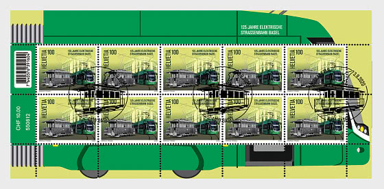 125 Years Basel Electric Tram - Sheet x 10 Stamps CTO - Sheetlets CTO