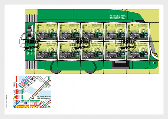 125 Years Basel Electric Tram - FDC Sheetlet - First Day Cover