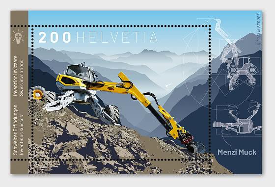 Swiss Inventions – Menzi Muck - Miniature Sheet