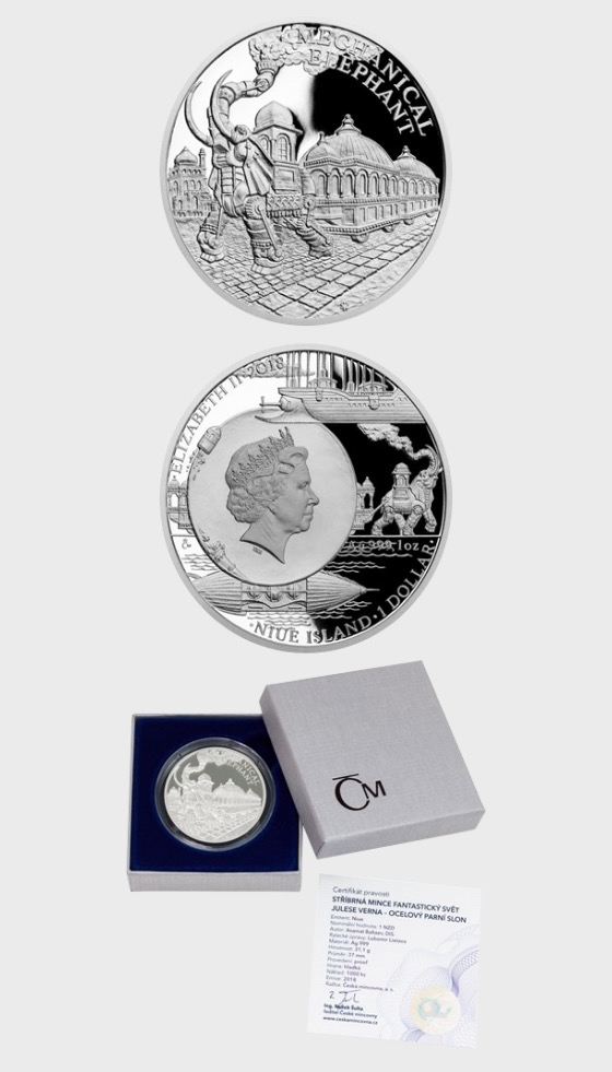 Niue - Silver coin Fantastic World of Jules Verne - Steam-powered mechanical Elephant proof - Silver Coin