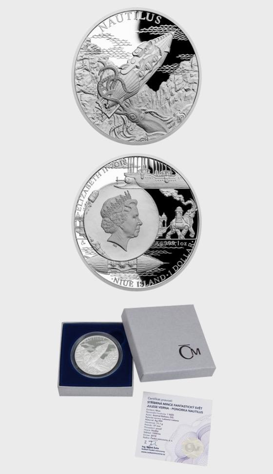Niue - Silbermünze Fantastische Welt von Jules Verne - U-Boot Nautilusbeweis - Silbermünze