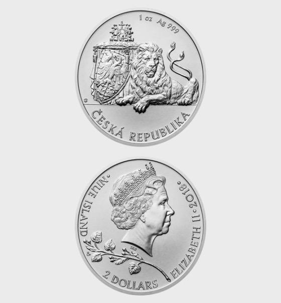 Niue - Silver 1 oz bullion coin Czech Lion 2018 stand - Silver Bullion