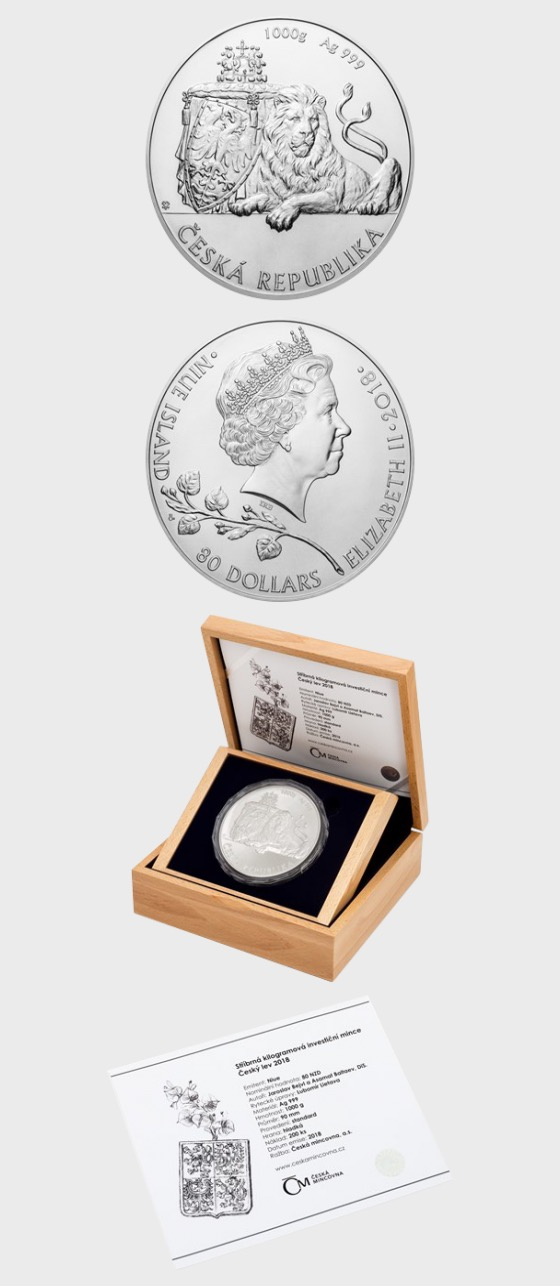 Niue - Silver 1 kilo bullion coin Czech Lion 2018 stand - Silver Bullion