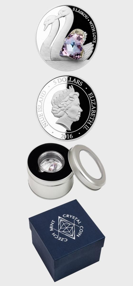 Nioué - Pièce d'argent Pièce de cristal - Avec amour preuve - Piece d'argent