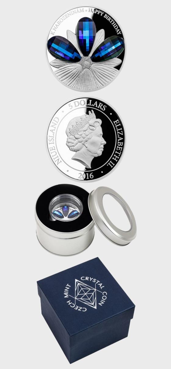 Niue - Silbermünze Kristallmünze - Happy Birthday - Beweis - Silbermünze