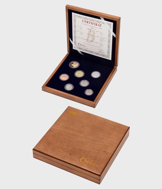 Satz von 2017 Umlaufmünzen Beweis - Holzetui - Münzen Jahr-Set