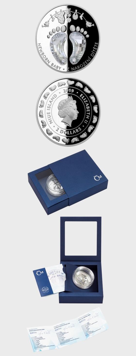 Niue - Silberkristallmünze - Zur Geburt eines Kindes - Silbermünze
