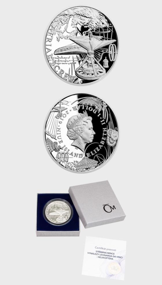 Niue - Silver coin Inventions of Leonardo da Vinci - Aerial Screw proof - Silver Coin