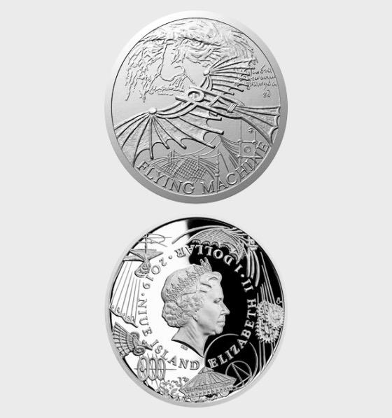 Nioué - Pièce d'argent Inventions de Léonard de Vinci - Machine volante - Piece d'argent