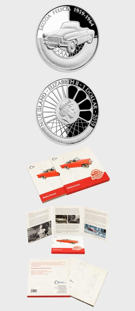 Niue - Silbermünze auf Rädern - Škoda Felicia - Silbermünze