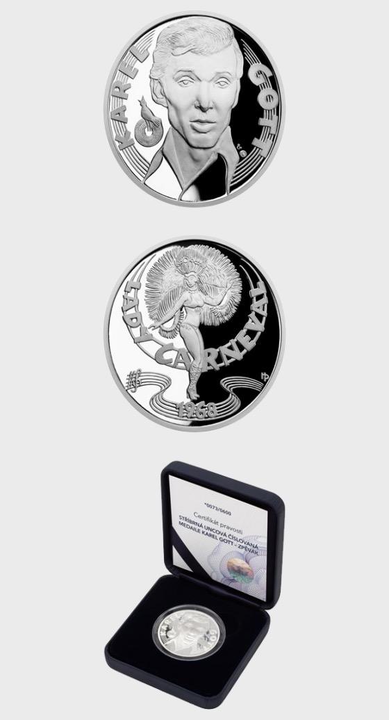 Médaille d'argent Karel Gott - Chanteur - Médaille