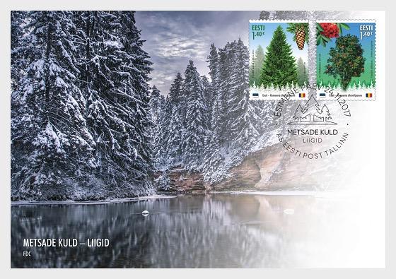 Oro de los bosques: Especies forestales - Emisión Conjunta Estonia - Rumania - Sobre de Primer Dia