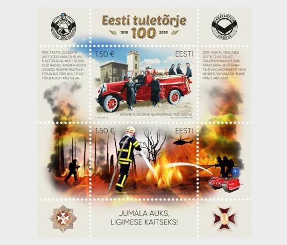 Estonian Fire Fighting 100 - Miniature Sheet