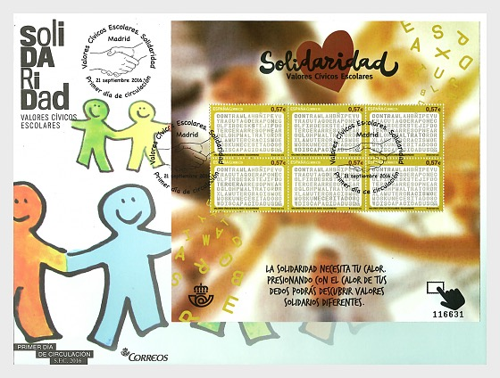 Valores Cívicos Escolares - Solidaridad - Sobre de Primer Dia