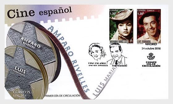Cine Español - Amparo Rivelles y Luis Mariano - Sobre de Primer Dia