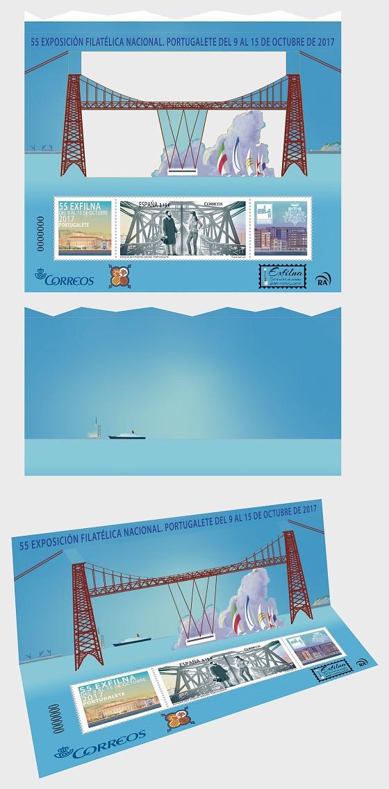 Exfilna 2017 - Portugalete - Metal Bridge - Miniature Sheet