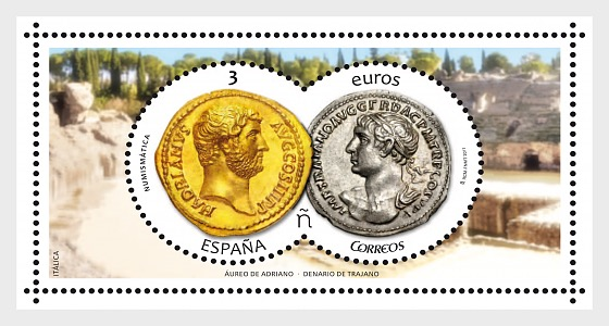 Numismatics 2017 - Aureus of Hadrian and Denarius of Trajan - Miniature Sheet