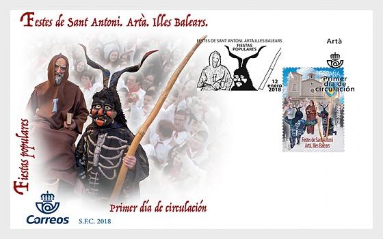 Fiestas Populares - Festes de Sant Antoni. Artà. Illes Balears - Sobre de Primer Dia