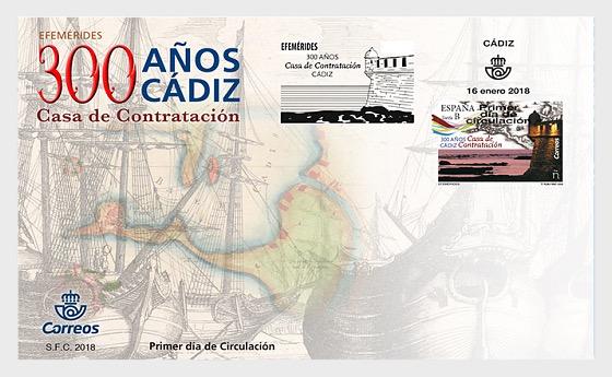 Efemérides - 300 años Casa de Contratación de Cádiz - Sobre de Primer Dia
