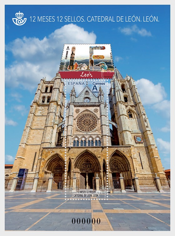 12 Months, 12 Stamps - Leon Cathedral - Miniature Sheet