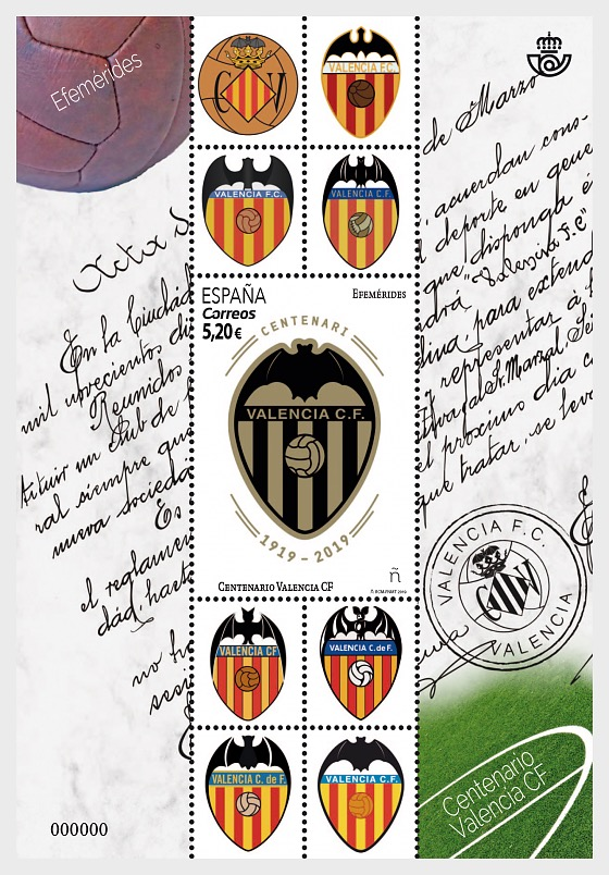 Centenary of Valencia Club de Fútbol - Miniature Sheet