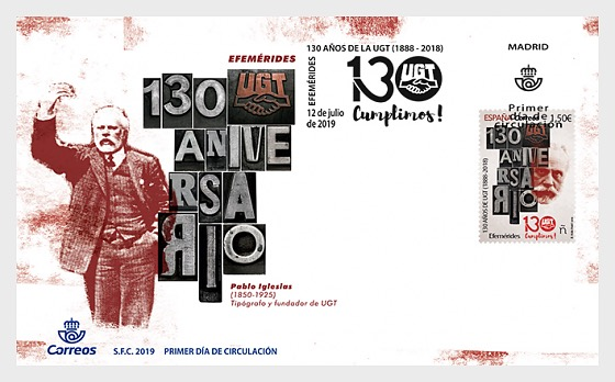 Anniversaries, 130 Years of the UGT (1888–2018) - First Day Cover