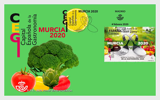 2020年西班牙首都美食之都。穆尔西亚 - 首日封