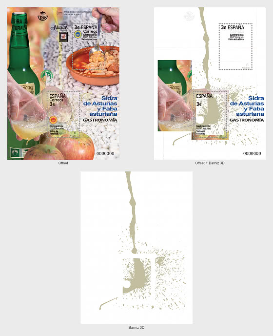 Gastronomy - Protected Designations of Origin of Asturias - Miniature Sheet