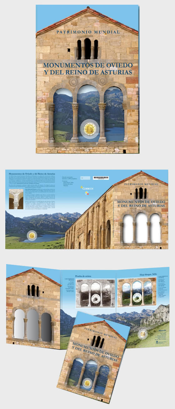 10% DISCOUNT - World Heritage, Monuments of Oviedo and the Kingdom of Asturias Folder - Coin Card