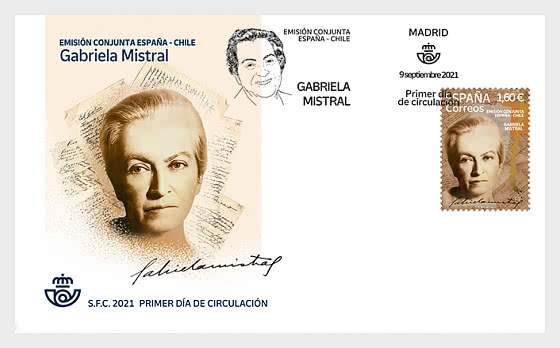 Joint Issue Spain-Chile - Gabriela Mistral - First Day Cover