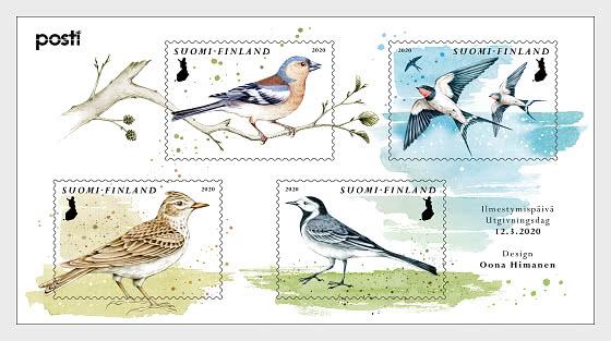 Los Pájaros de un Poema de primavera - Hojas Bloque