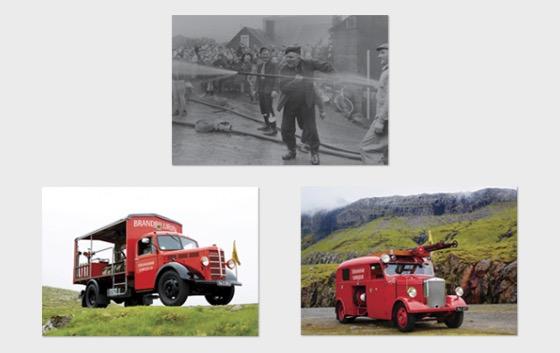 Old Fire Trucks - Postcard