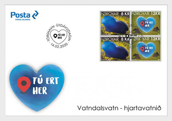 The Heart-Shaped Lake - FDC Block of 4 - First Day Cover block of 4