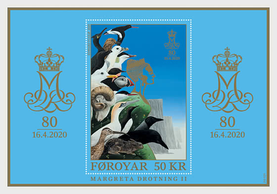 Queen Margrethe 80 Years - M/S Mint - Miniature Sheet